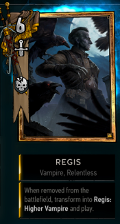 Regis as he appears in your deck and hand